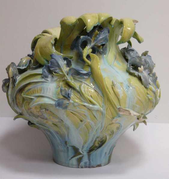 Great Hruschauer Art Nouveau Faience Vase  - photo 2