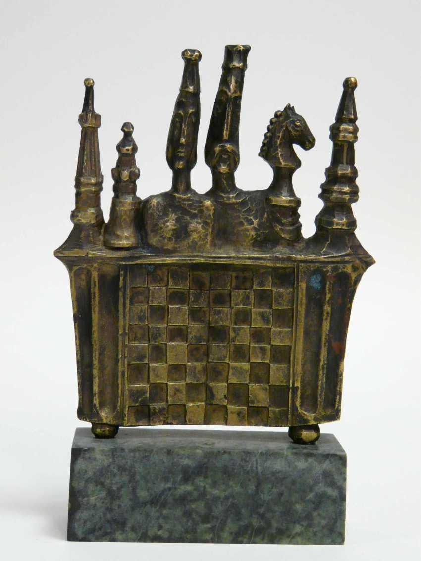 """Monogrammist """"SM"""" (1991), Bronze - Plastic Schach - photo 1"""