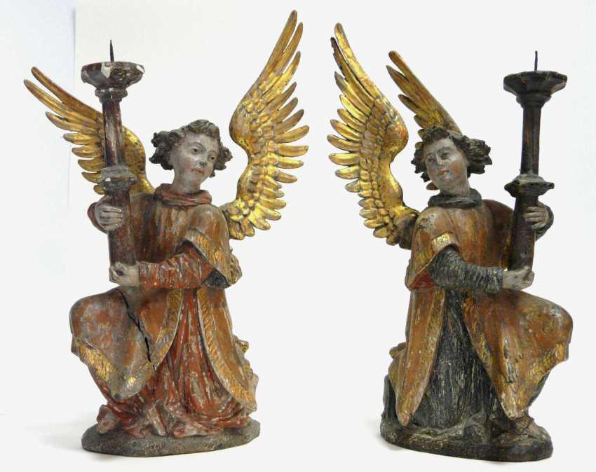 Pair Of Renaissance Candlesticks Angel  - photo 1