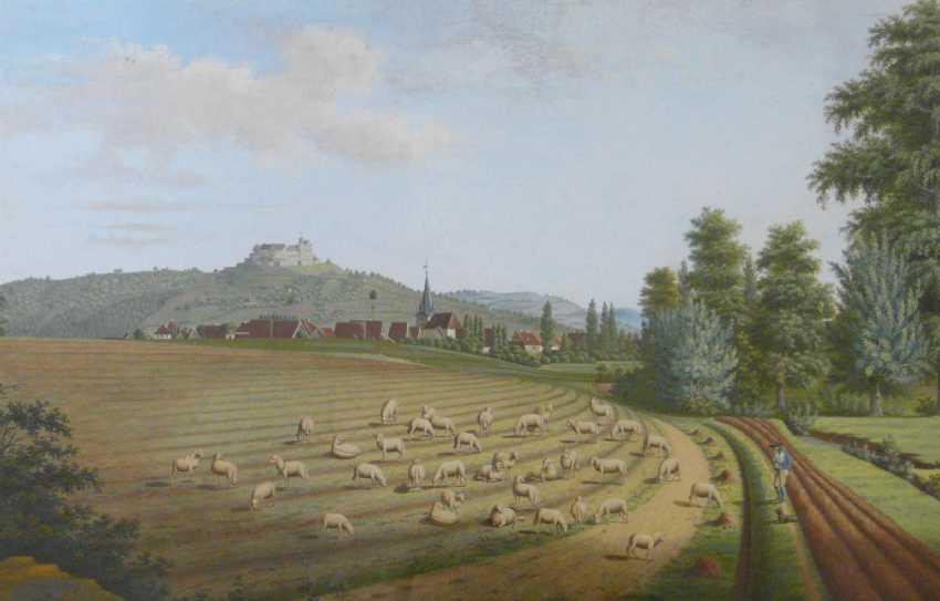 Johann cripple, Wide landscape with a shepherd and a view to the Veste Coburg (1813) - photo 1
