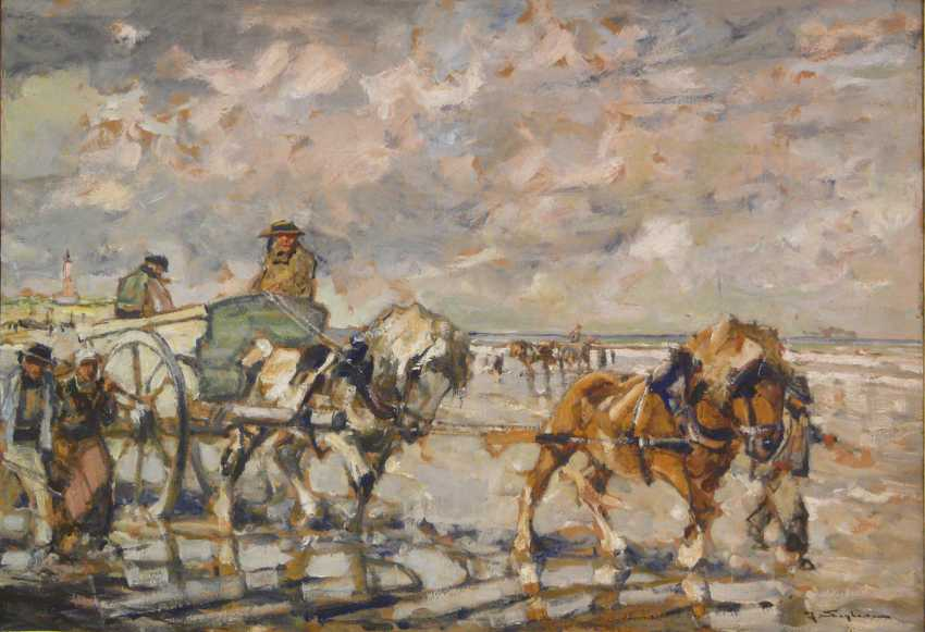 Julius Seyler, Breton shell collectors with a team of horses on the beach  - photo 1