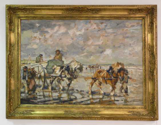 Julius Seyler, Breton shell collectors with a team of horses on the beach  - photo 2
