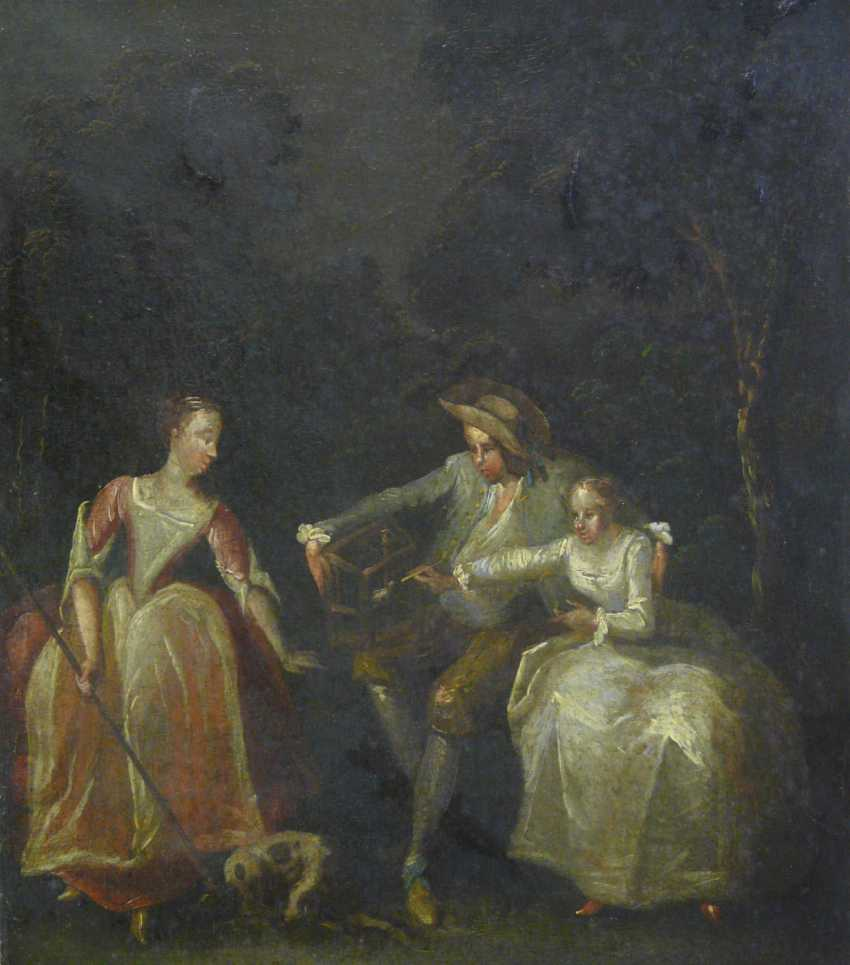 French artist of the Rococo gallant scene in an ideal landscape (A semi-nooner, France, around 1700) - photo 1