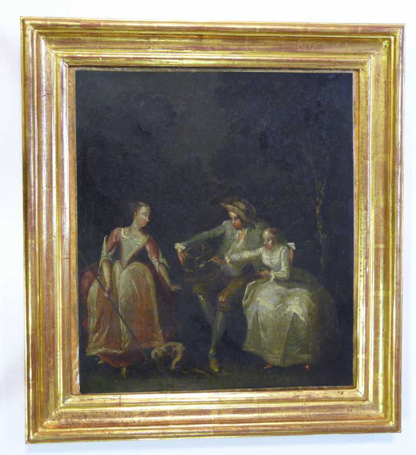 French artist of the Rococo gallant scene in an ideal landscape (A semi-nooner, France, around 1700) - photo 2