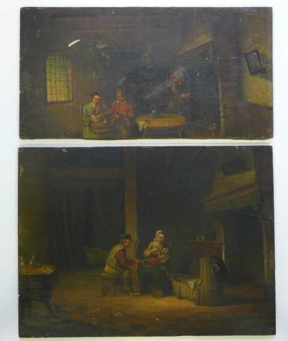 Netherlands 19. Century, Pair of paintings parents with a small child in a peasant interior - photo 1
