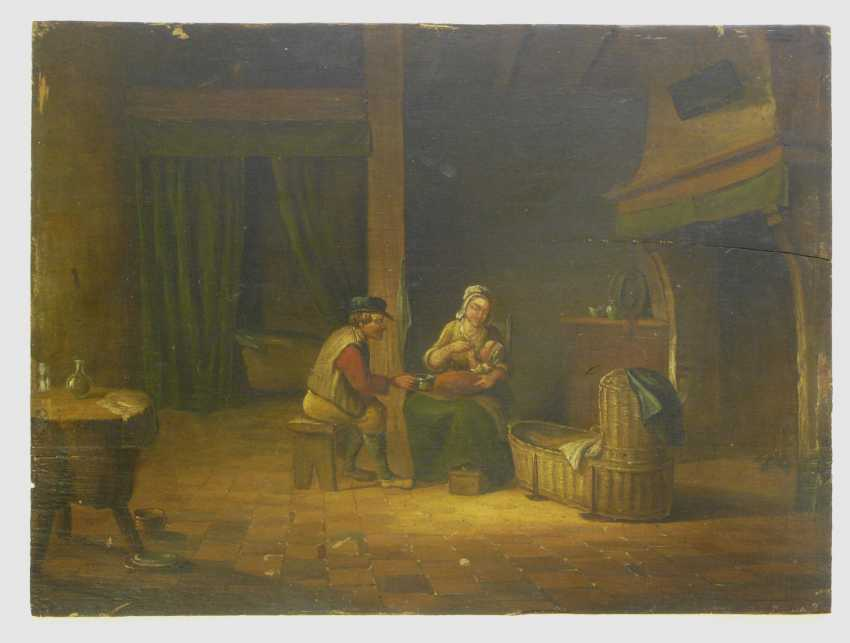 Netherlands 19. Century, Pair of paintings parents with a small child in a peasant interior - photo 2