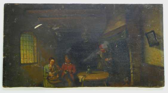Netherlands 19. Century, Pair of paintings parents with a small child in a peasant interior - photo 3