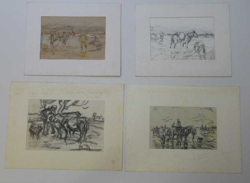 Julius Seyler, Elf sketches, with landscapes, horses, shell collectors, etc.  - photo 1
