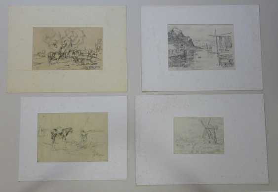 Julius Seyler, Elf sketches, with landscapes, horses, shell collectors, etc.  - photo 3