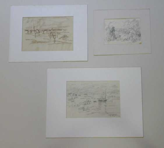 Julius Seyler, Elf sketches, with landscapes, horses, shell collectors, etc.  - photo 4