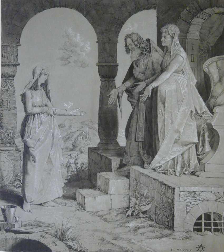 Sascha Schneider (Estate), The Visitation Of Mary (Lk. To 1.39) - photo 1
