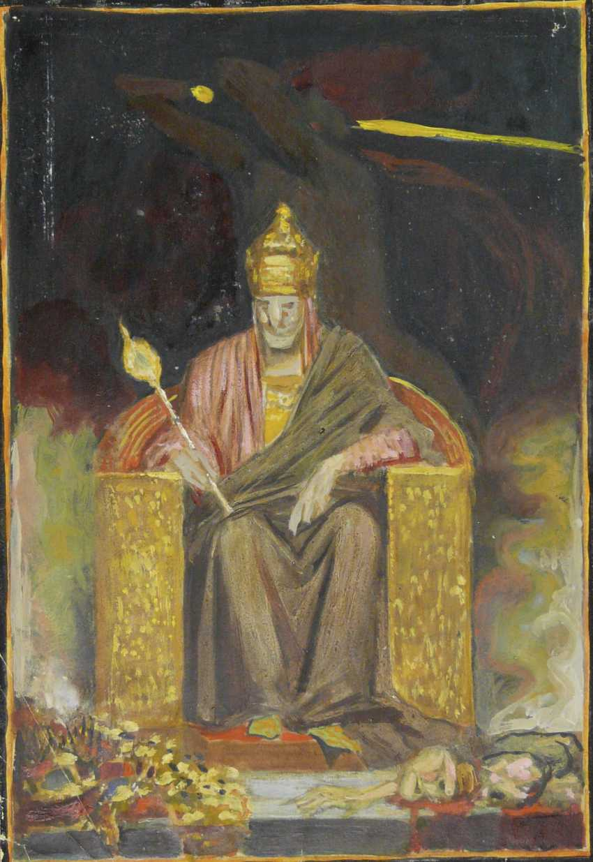 Sascha Schneider (estate of), seated ruler with sceptre - photo 1