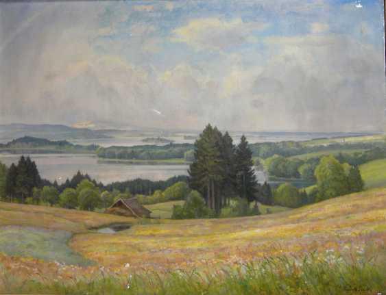 Rudolf Sieck, Wide summer landscape at the lake Staffelsee in Garmisch - Partenkirchen  - photo 1