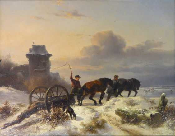 Wouterus Verschuur horses - two horses, in winter the transport of timber on the Dutch beach - photo 1
