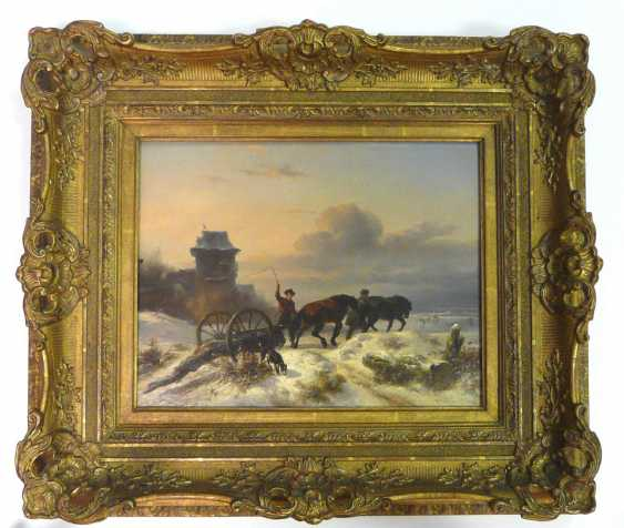 Wouterus Verschuur horses - two horses, in winter the transport of timber on the Dutch beach - photo 2