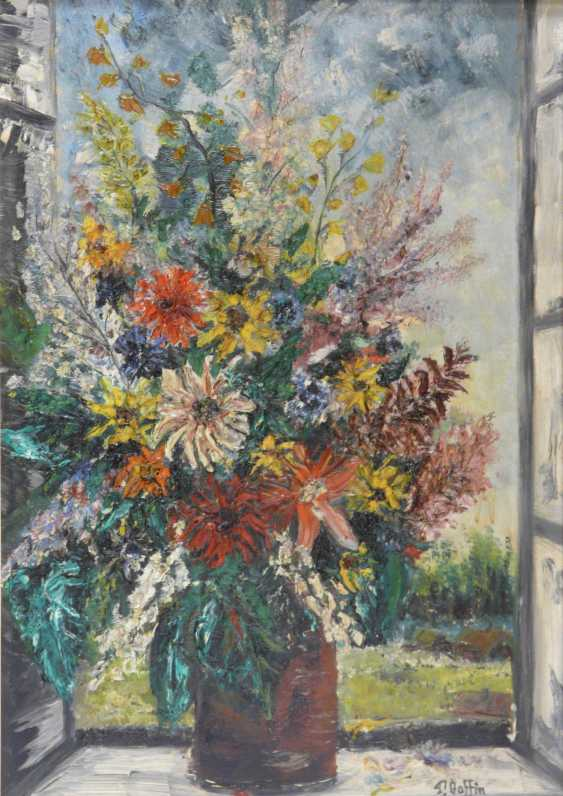 Pierre Boffin bouquet of colorful summer flowers in the window - photo 1