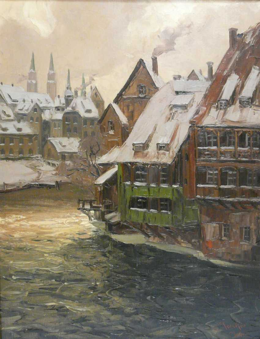 Erich Mercker, Nuremberg - view of the Lorenz Church and old houses on the Pegnitz  - photo 1