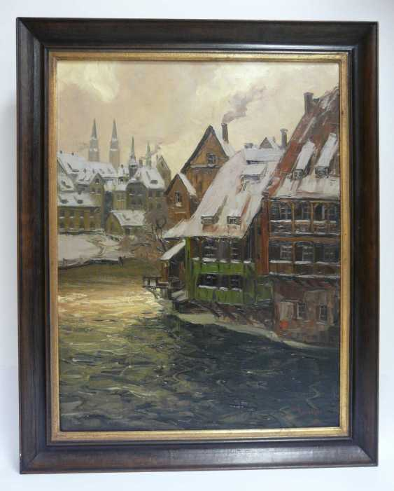 Erich Mercker, Nuremberg - view of the Lorenz Church and old houses on the Pegnitz  - photo 2