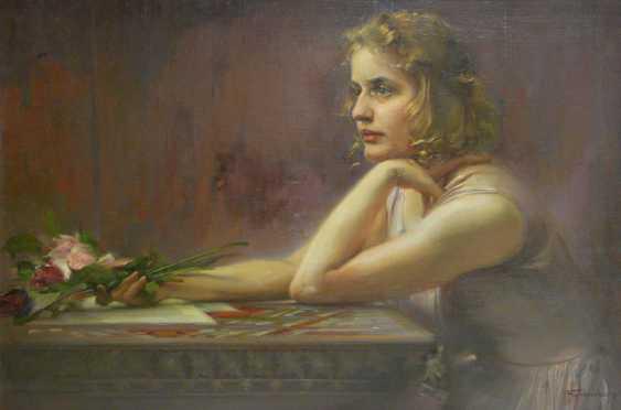 Ludwig Fahrenkrog, girl portrait with roses - photo 1
