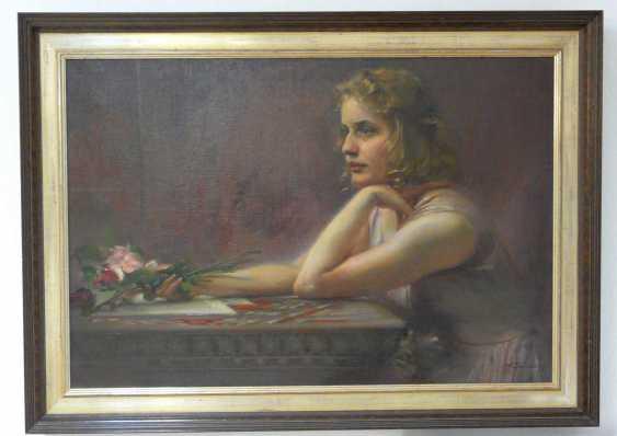 Ludwig Fahrenkrog, girl portrait with roses - photo 2