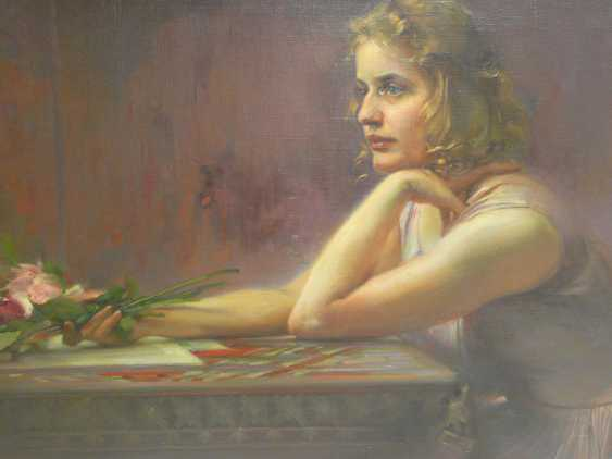 Ludwig Fahrenkrog, girl portrait with roses - photo 3