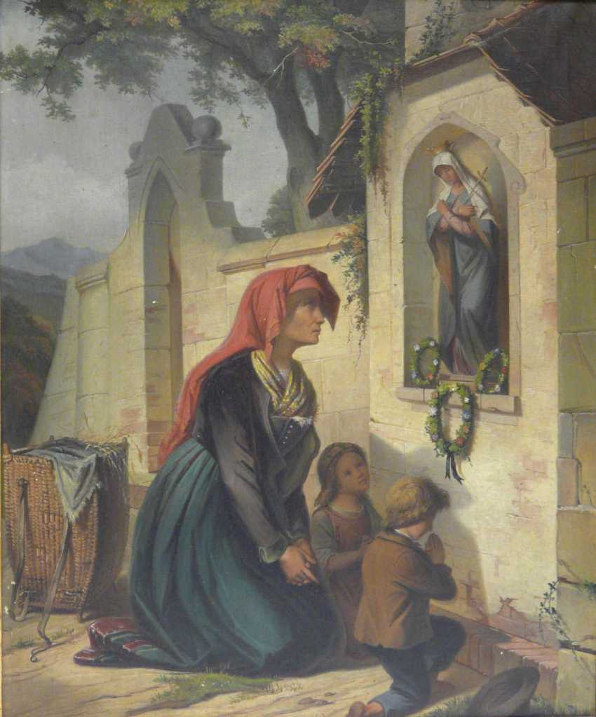 Unknown artist, mother with two children in the prayer at the image of floor - photo 1