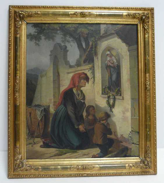 Unknown artist, mother with two children in the prayer at the image of floor - photo 2