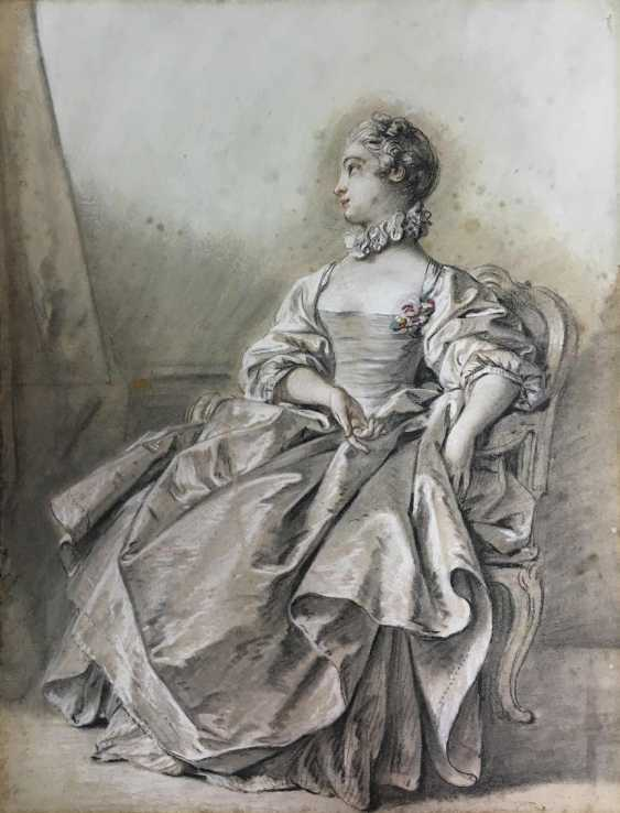 French artist of the 18th century. Century, portrait of a courtly young lady  - photo 1