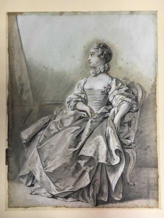 French artist of the 18th century. Century, portrait of a courtly young lady  - photo 2