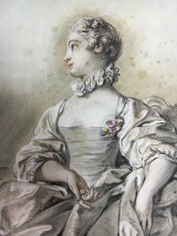 French artist of the 18th century. Century, portrait of a courtly young lady  - photo 3