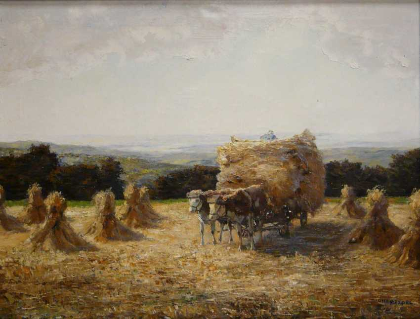 Otto Pippel, team of oxen in the hay - photo 1