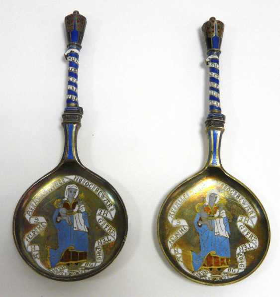 Two enameled Danish silver spoon  - photo 1