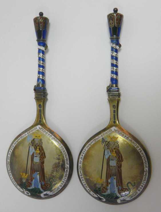 Two enameled Danish silver spoon  - photo 2