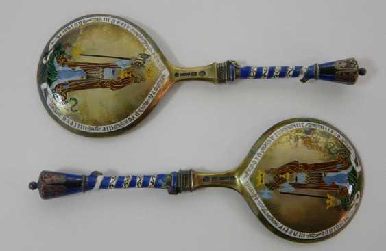 Two enameled Danish silver spoon  - photo 3