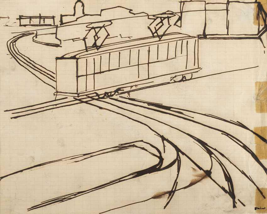 Paesaggio urbano con tram 1920 circa - photo 1