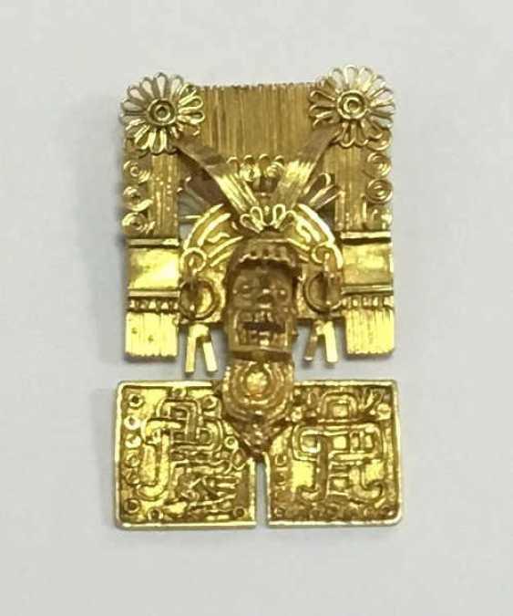 Golden Brooch Pendant Mixtekische Mask  - photo 1