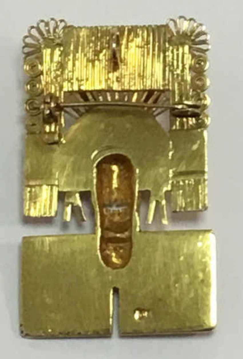 Golden Brooch Pendant Mixtekische Mask  - photo 2