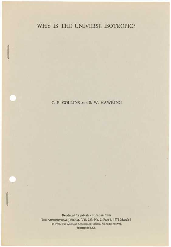 First edition of Hawking's analysis of the cosmological principle - photo 1