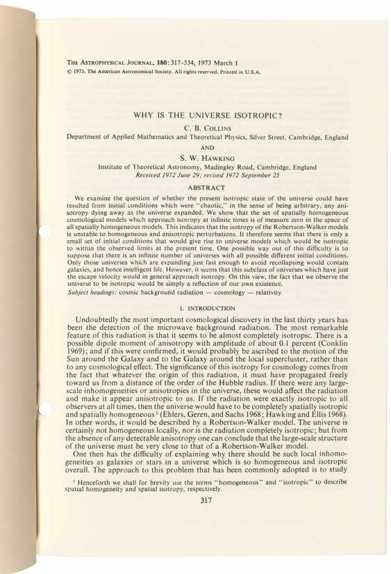 First edition of Hawking's analysis of the cosmological principle - photo 2
