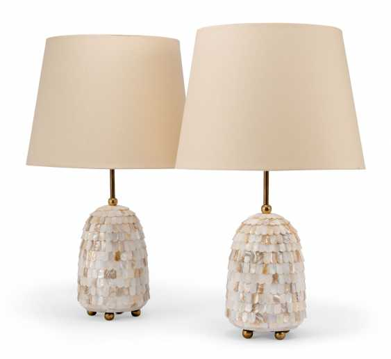 A PAIR OF MOTHER-OF-PEARL LAMPS - photo 1