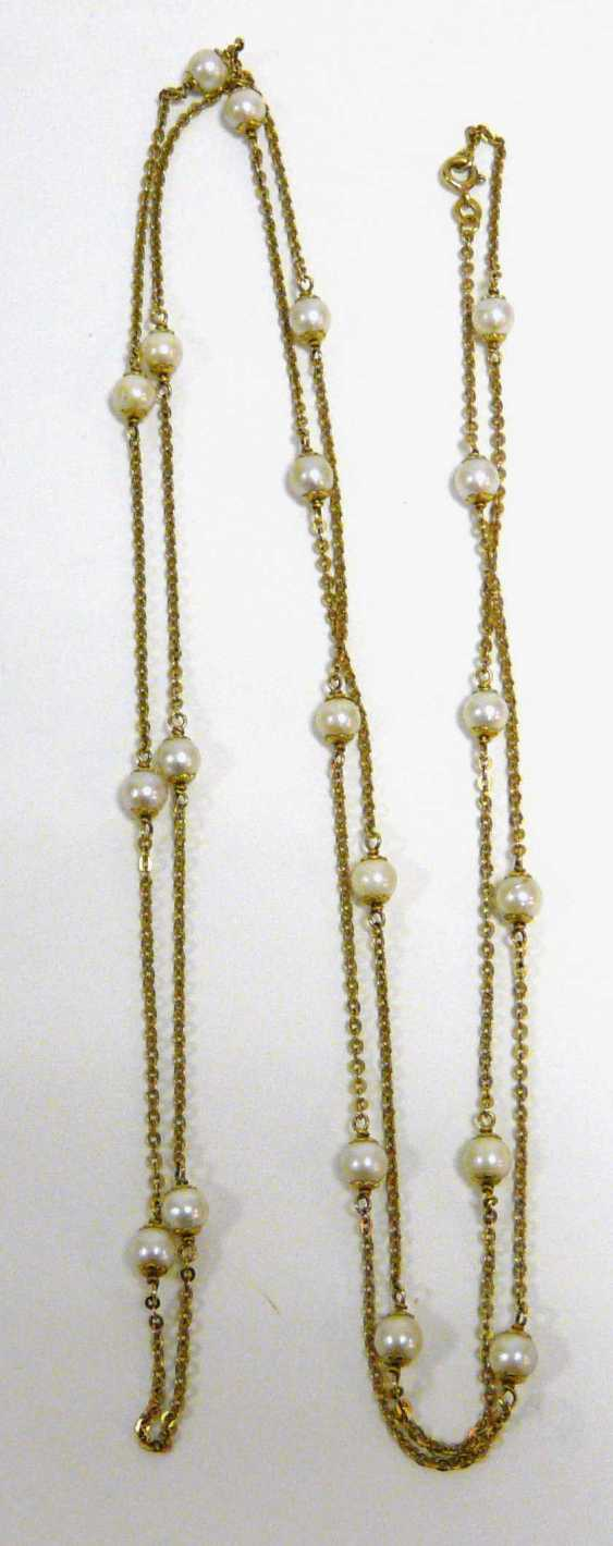 Gold chain with beads  - photo 1