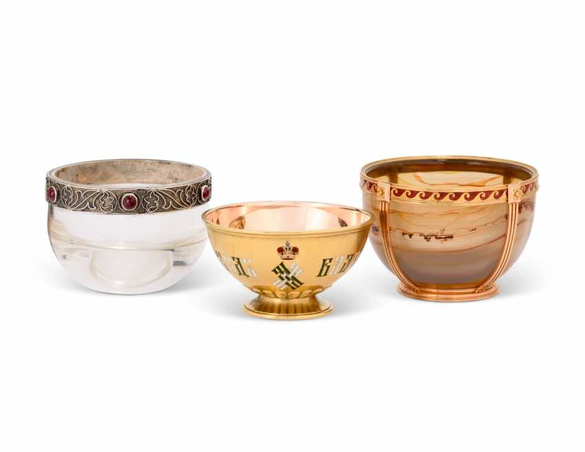 THREE GEM-SET AND ENAMEL SILVER, GOLD AND HARDSTONE MINIATURE BOWLS - photo 1