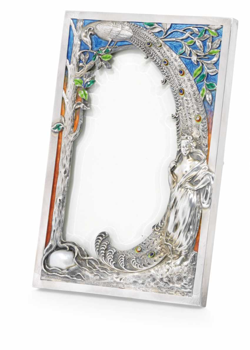 A JEWELLED AND EN PLEIN ENAMEL SILVER PHOTOGRAPH FRAME - photo 1