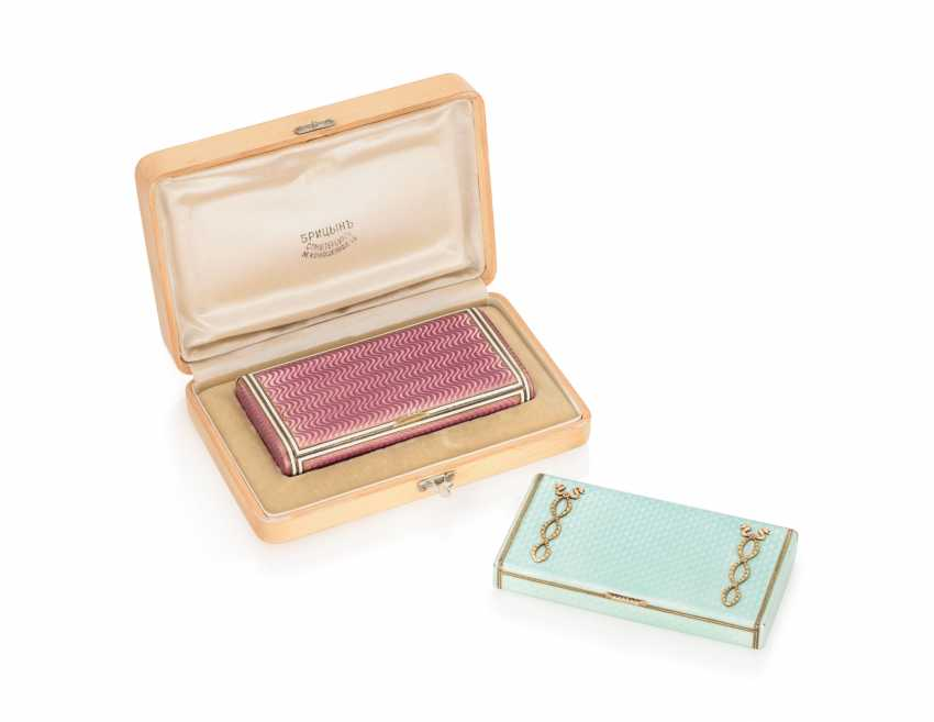 TWO JEWELLED GUILLOCHÉ AND CHAMPLEVÉ ENAMEL SILVER-GILT CIGARETTE CASES - photo 1