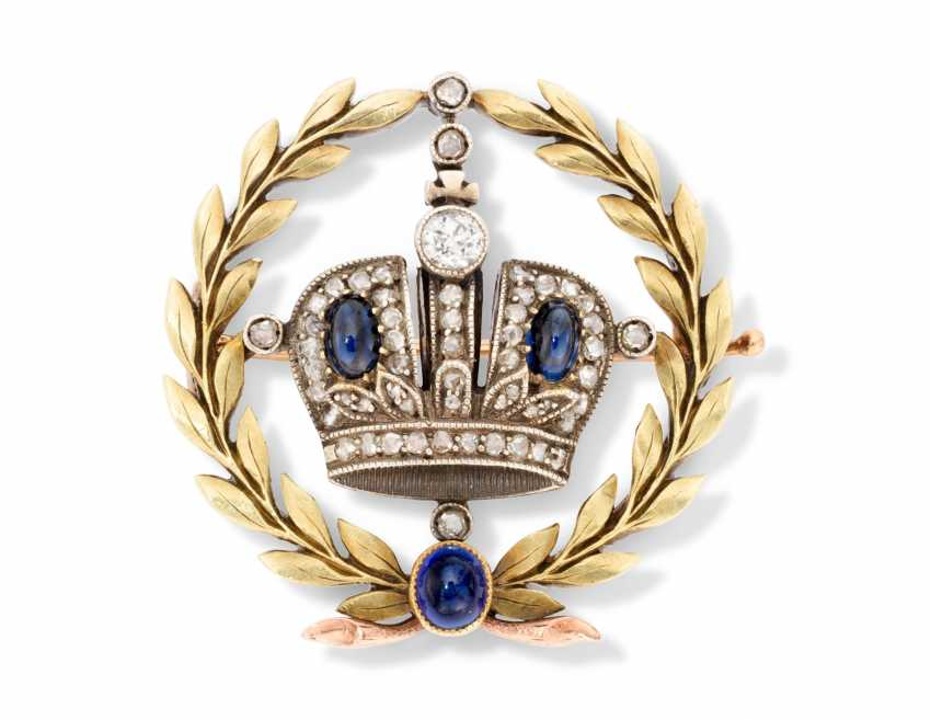 A JEWELLED TWO-COLOUR GOLD IMPERIAL PRESENTATION BROOCH - photo 1