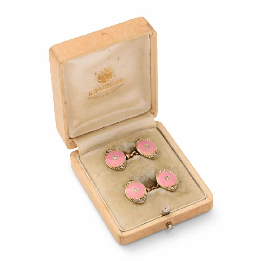 A PAIR OF JEWELLED AND GUILLOCHÉ ENAMEL GOLD CUFFLINKS - photo 1