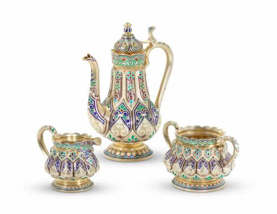A CHAMPLEVÉ ENAMEL SILVER-GILT COFFEE SERVICE - photo 1