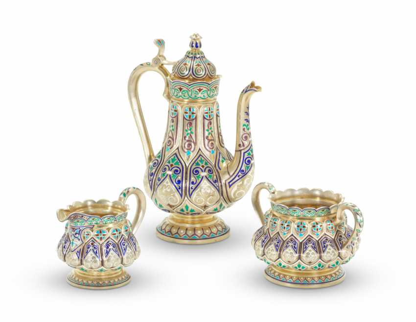 A CHAMPLEVÉ ENAMEL SILVER-GILT COFFEE SERVICE - photo 2
