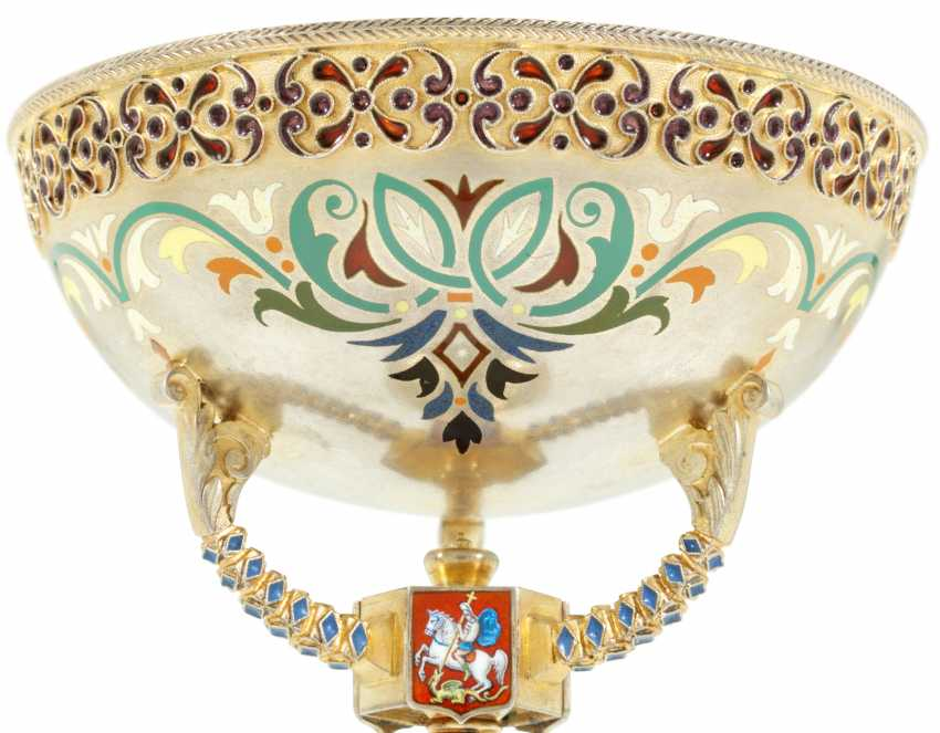 TWELVE GUILLOCHÉ, CHAMPLEVÉ AND PLIQUE-À-JOUR ENAMEL SILVER-GILT SHERBET CUPS, STANDS AND SPOONS - photo 2