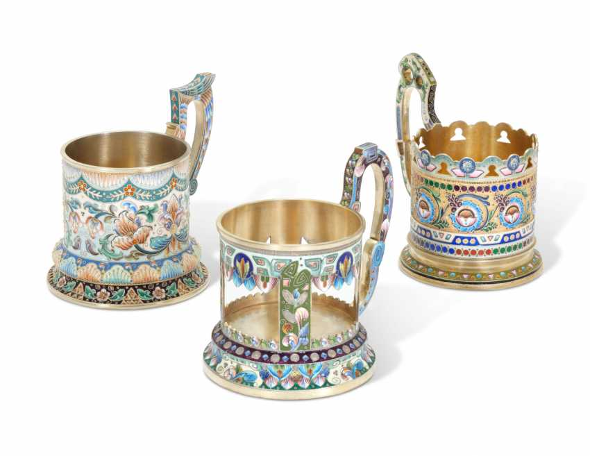 THREE CLOISONNÉ ENAMEL SILVER-GILT TEA-GLASS HOLDERS - photo 2